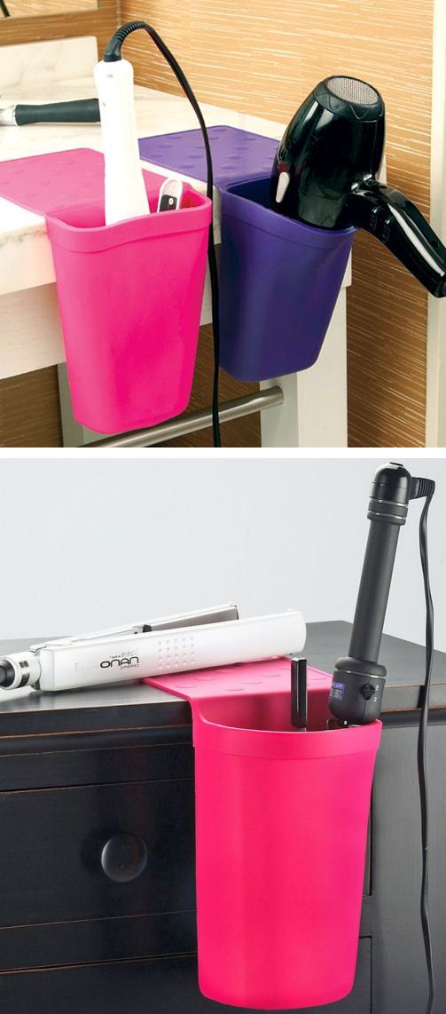Keep hot styling tools close at hand and safely protect surfaces from heat damage with this silicone holster that easily clings to smooth, nonporous surface. #brilliant
