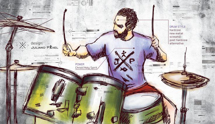 """""""Eu Ilustrado 3"""" - Desenho de mim tocando bateria [Wacom tablet + Photoshop]"""