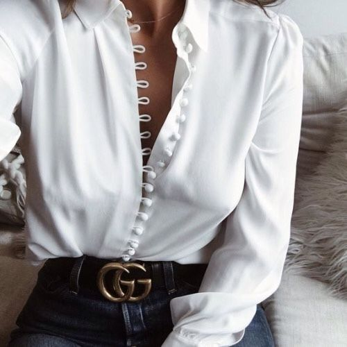 White Shirt | Gucci Belt | Black Belt | Blue Jeans | Denim | Covered Buttons
