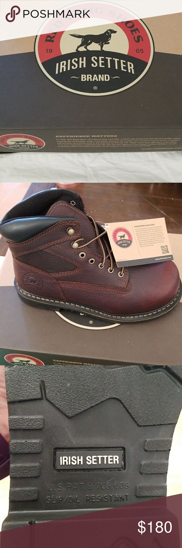 "Men's size 8.5 Farmington safety toe 6"" work boots Red wing shoes Irish setter work brand safety steel toe with spill/oil resistant soles. Red Wing Shoes Shoes Boots"