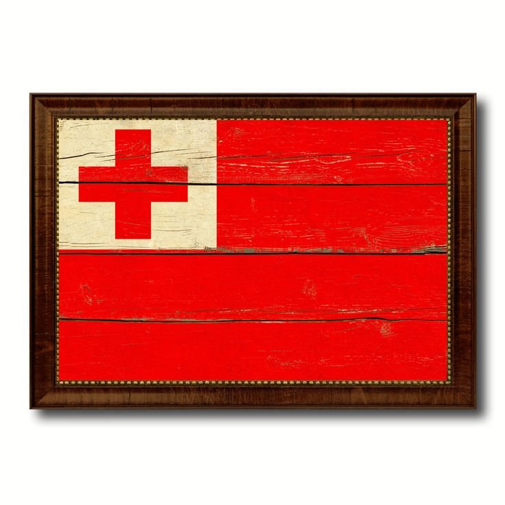 Tonga Country Flag Vintage Canvas Print with Brown Picture Frame Home Decor Gifts Wall Art Decoration Artwork