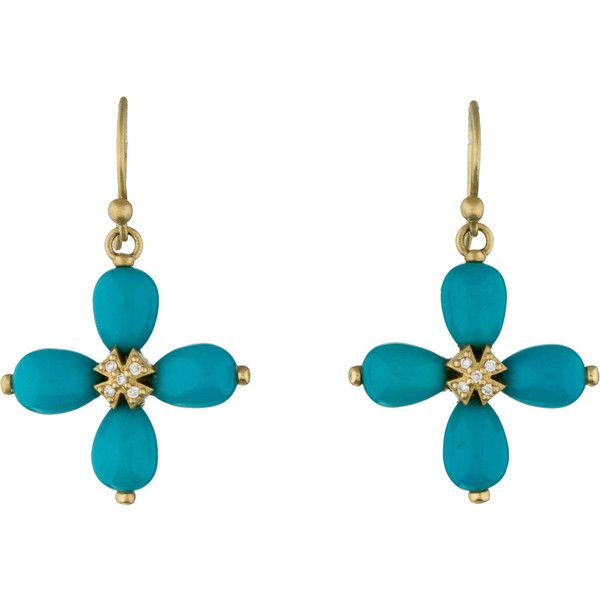 Elizabeth Showers Turquoise & Diamond Cross Earrings (80245 RSD) ❤ liked on Polyvore featuring jewelry, earrings, gold, diamond jewelry, fish hook earrings, cross jewelry, 18 karat gold earrings and earrings jewelry