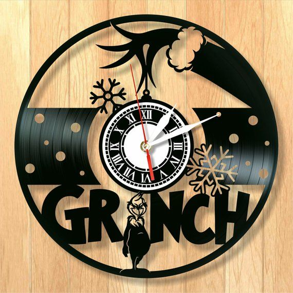Creative Vinyl Clock The Grinch Is An Interesting Idea Of The Decor Of Any Room In Home The Size Of The Clock 12 Inch 30cm The Wall Clock Clock Clock Face