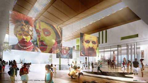 Artist impression of inside Paga Hill Estate's Trade, Exhibition and Cultural Centre.