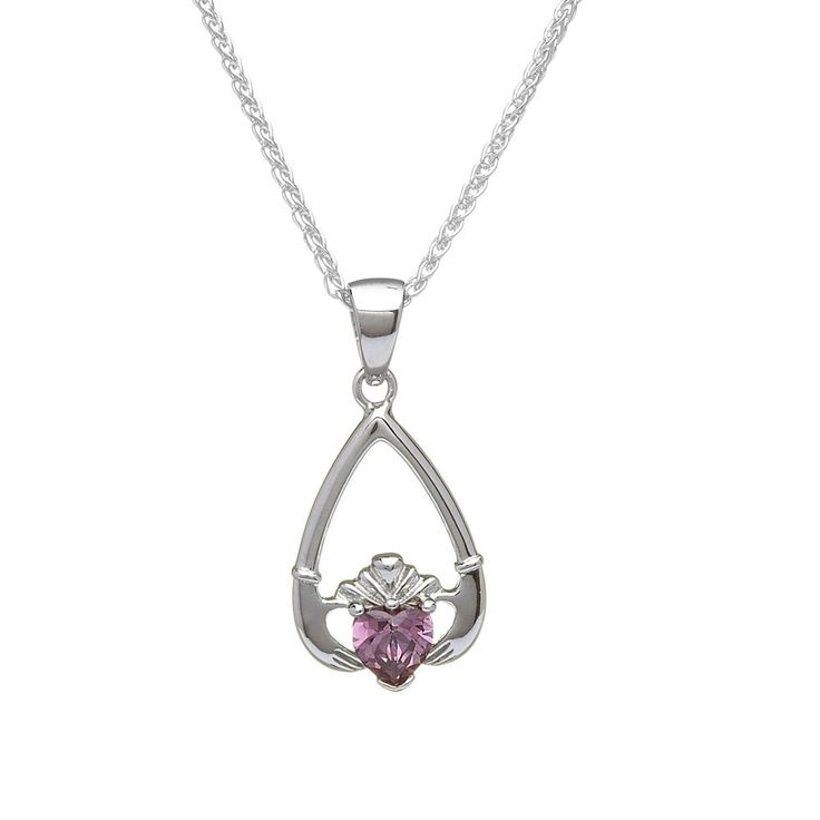 June Birthstone Claddagh Pendant - Claddagh Birthstone Jewelry - Rings from Ireland