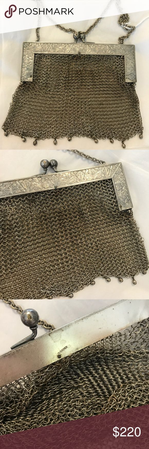 Antique Real Silver Joan of Arc Mesh Chain Purse Wowzer! So amazing. No links missing. Stamped inside SILVER. Art Deco design on top. Most likely metal circles. Mini handbag. Old. Collectible. Turn of the century. Mini beaded tassels across the bottom. Heavy weight. S000059588875213 Vintage Bags Mini Bags