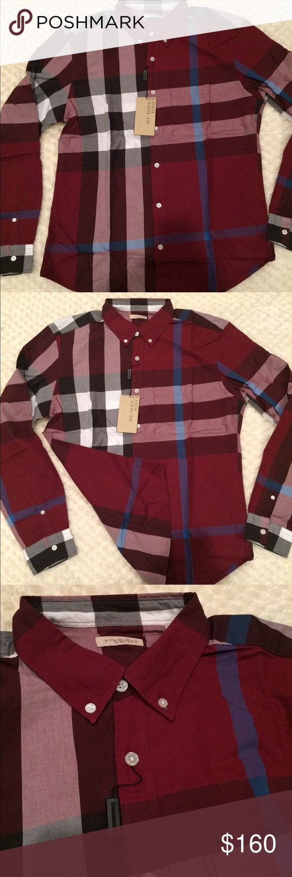 New burberry shirt for men New with tags burberry shirt for men velvet color 100% cotton Burberry Shirts Casual Button Down Shirts