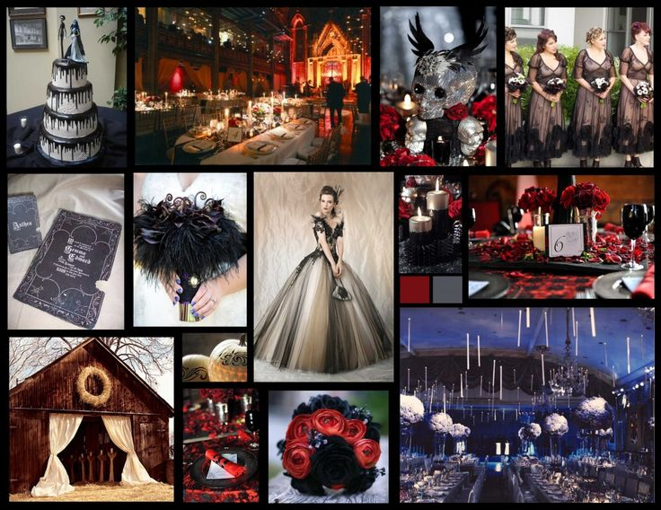 be inspired by our halloween wedding inspiration board spooky ideas for your dark and romantic wedding celebration blood red roses black ostrich plumes - Halloween Themed Wedding Reception
