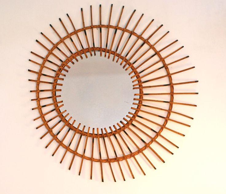 le retour du rotin #vintage #rétro #rotin #rattan #miroir #mirror #lucinevintage.com