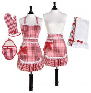 red white gingham apron shirt | Red & White Gingham Convertible Apron Set - traditional - aprons ...