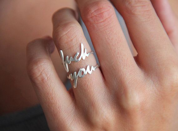 My sister would love this. Fuck You Ring Mature Listing by MinimalVS on Etsy, $136.00
