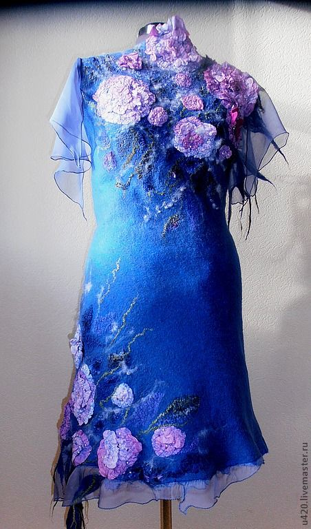 """Платье """"Фея Цветочных Грез"""" -2 - синий,цветочный,цвет электрик,Синее платье"""