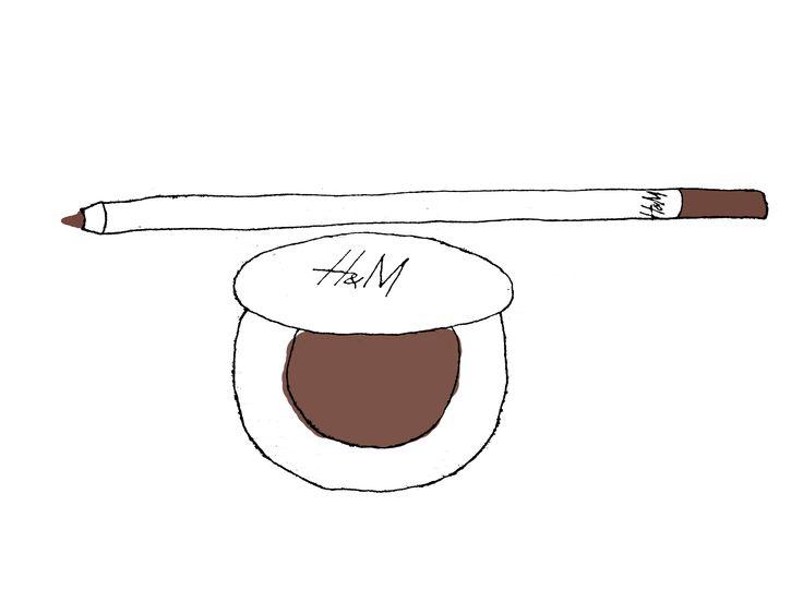 H&M eyeshadow and eyeliner pencil illustration