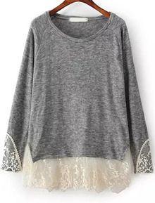 Camiseta suelta combinada encaje manga larga-gris