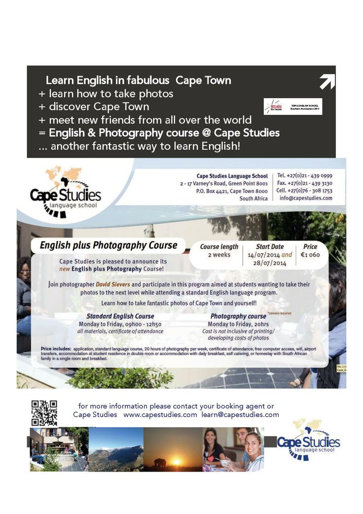 "****NEWS-NEWS-NEWS****  Join our ENGLISH and PHOTOGRAPHY COURSE at Cape Studies! Start Dates: 14.07.2014 and 28.07.2014  ""A picture is worth a thousand words.""   This is an opportunity to improve your English while learning how to take amazing pictures of Cape Town, one of the most beautiful cities in the world.   #creativ #photography #study #english #languageschool #capetown #southafrica"
