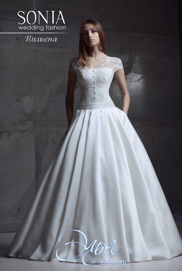 Cвадебное платье Вильена : а-силуэт, винтажный стиль, длинное платье, с вогнутым вырезом, с пышной юбкой, без шлейфа, модель до 2016 года, с плечиками, платье, в ограниченном количестве, подходит для венчания, основная ткань: кружево, атлас