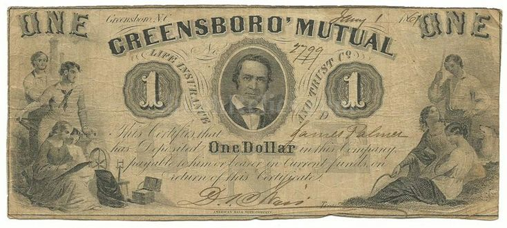 Original 1861 dated bank note for $1.00 issued by the Greensboro Mutual Life Insurance and Trust Company, issued January 1, 1861.  Shiloh Relics.