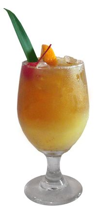 Painkiller (2 parts Rum 4 parts pineapple juice, 1 part cream of coconut and 1 part orange juice)