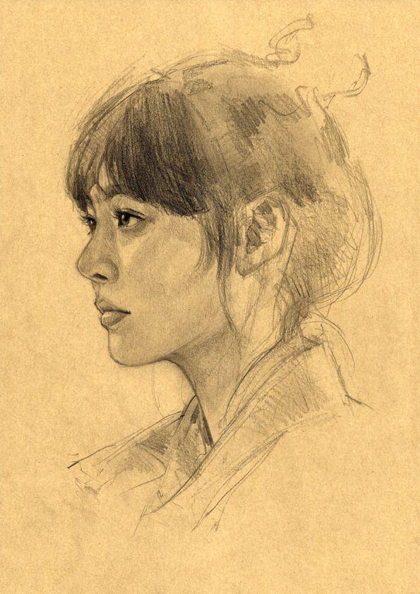 Portrait sketches on Toned paper / Pencil