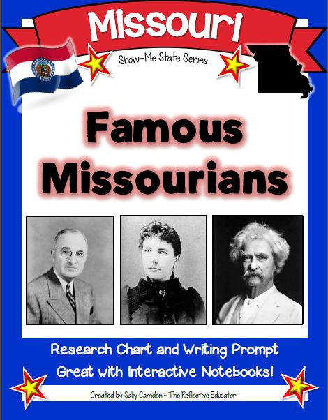 """Famous Missourians"" is a Social Studies lesson designed to teach students about the important contributions made by famous citizens of the Show-Me State of Missouri. Students use print and/or online resources to search for information about famous Missourians and complete a research grid. Perfect for interactive notebooks, but can also be used without them."