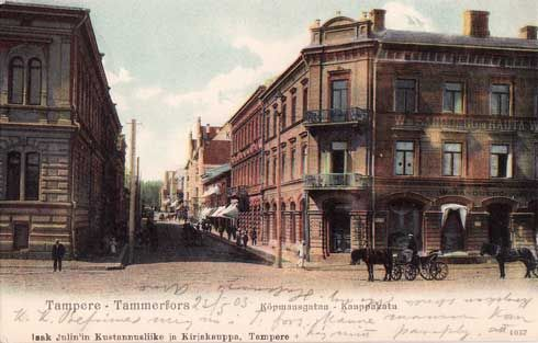 Kauppakatua ja Sandbergin talo - vanha Tampere-postikortti v. 1903 / Tampere, Finland 1903