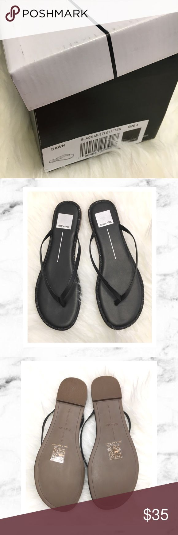 Dolce Vita Black Sparkle Flip Flops Dolce Vita Black glitter Flip Flops in size 8. New with box! I never got around to wearing these so they are up for sale now. They would look great with a little dress when you don't feel like hobbling around on skyscraper heels! 💕 Dolce Vita Shoes Sandals