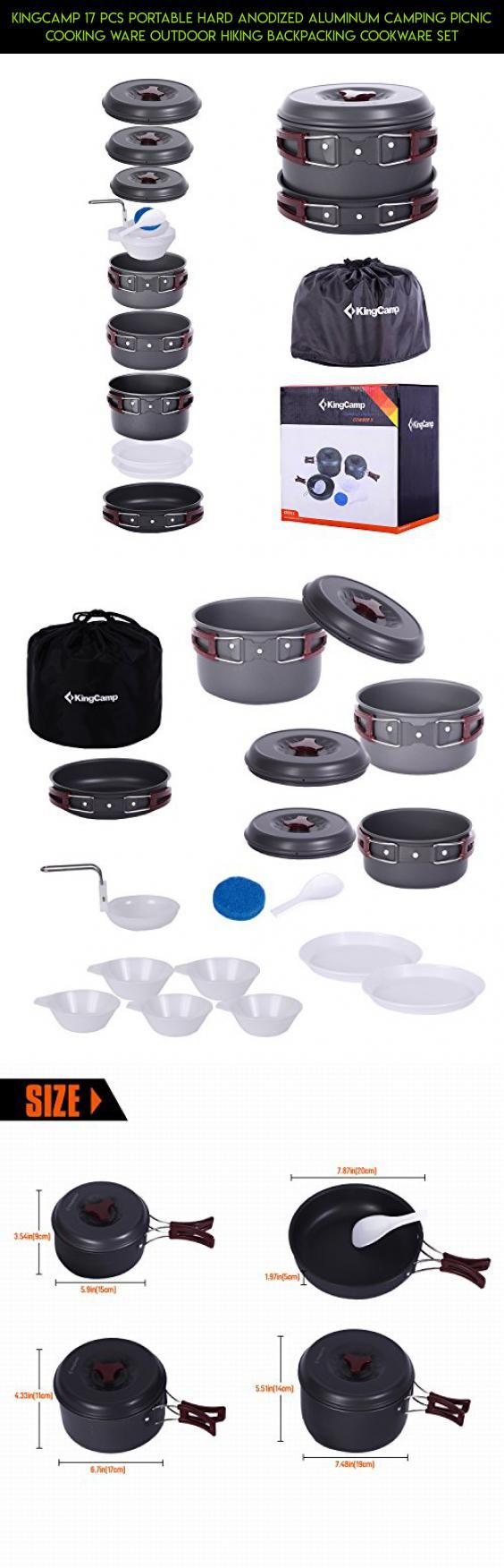 KingCamp 17 Pcs Portable Hard Anodized Aluminum Camping Picnic Cooking Ware Outdoor Hiking Backpacking Cookware Set #drone #ware #tech #kit #products #technology #outdoor #parts #fpv #racing #gadgets #camera #cooking #plans #shopping