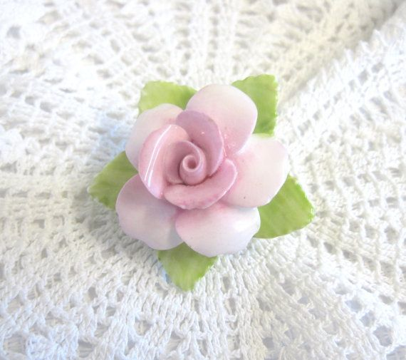 Vintage Coalport China Rose Brooch Pastel Pink by TheWhistlingMan
