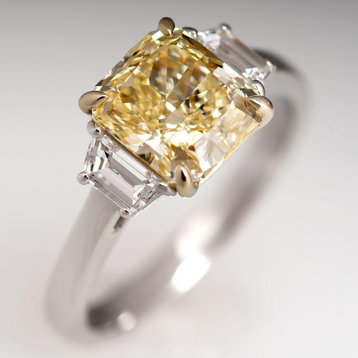 2.15 Carat GIA Natural Fancy Yellow Diamond Engagement Ring