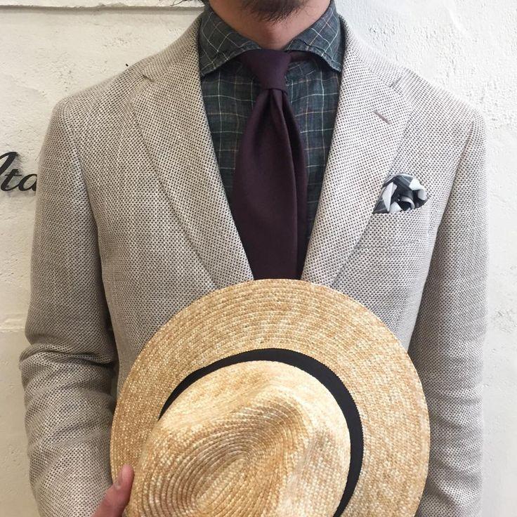 「リゾート気分で良いですね。  Jacket : Artigianale ¥68,040- Tie : Stefano Bigi ¥15,120- Hat : Caelo Forti ¥8,964- (税込)  #イタルスタイル #italstyle #italstylekyoto #mensjacket…」