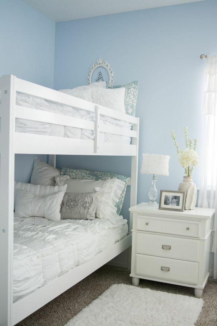 Bedroom ideas for girls with bunk beds - Chic White Make Bedsgirls Bedroomgirls Bunk