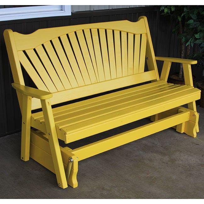 + PATIO // A&L Furniture Co. Fanback Painted Outdoors Porch Glider Bench - 581, 582, 583