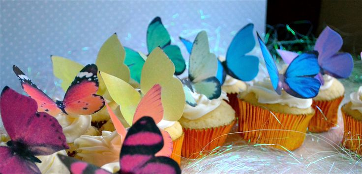EDIBLE BUTTERFLIES - Large Rainbow Assortment - Butterfly Cake & Cupcake Toppers - Edible Cake Decorations. $8.95, via Etsy.