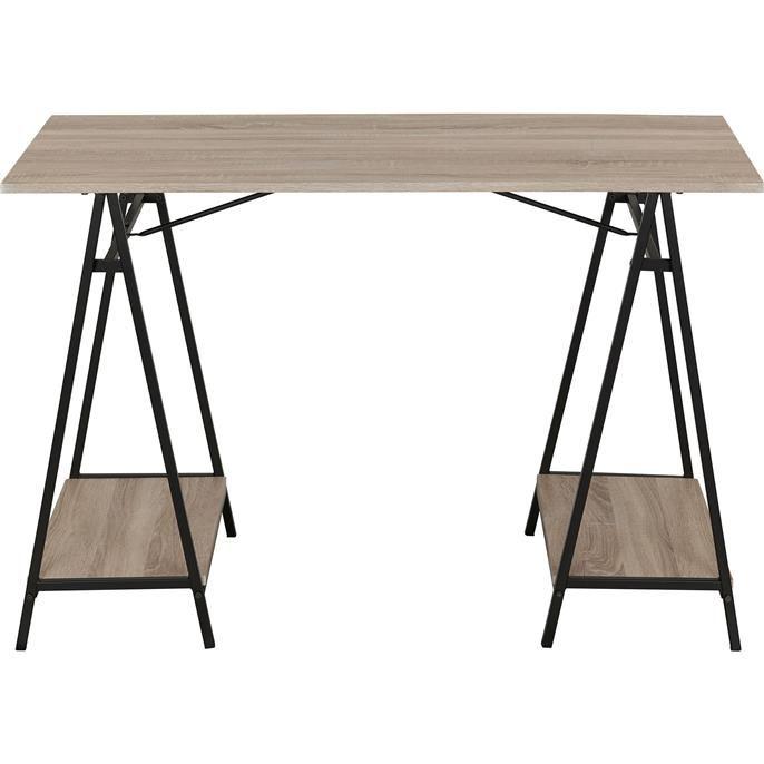 Bureau Malmo met houten planken en metalen frame. Afmeting: 120x55 cm.