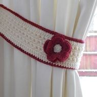 Pair of funky and unique curtain tiebacks designed and made by me - in cream and deep red with gorgeous matching flower detail