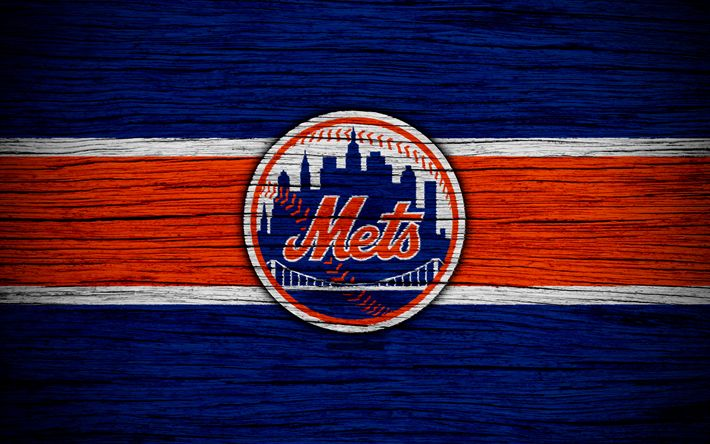 Download wallpapers New York Mets, 4k, MLB, baseball, USA, Major League Baseball, NY Mets, wooden texture, art, baseball club