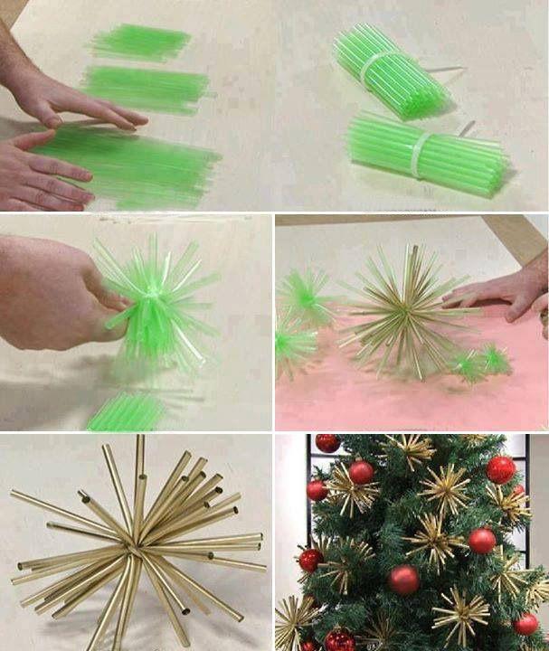 handmade christmas ornaments gold decorations stars drinking straws