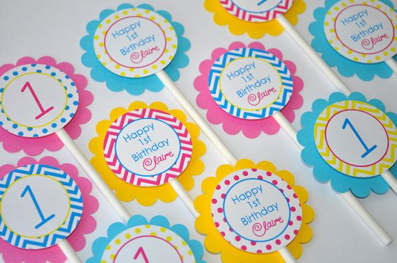 12 Girls Birthday Cupcake Toppers - Chevron Birthday Decorations with Polkadots - Teal, Pink, Yellow via Etsy
