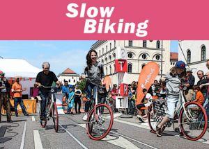 Bij slowbiking proberen mensen zo langzaam mogelijk te doen over een afstand van 11 meter op een fiets. De voeten mogen niet de grond raken en de fiets moet binnen de lijnen blijven. Het is heel erg belangrijk om goed balans en focus te hebben.