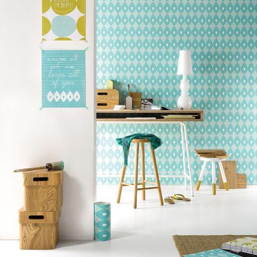 papier peint turquoise pas cher. Black Bedroom Furniture Sets. Home Design Ideas