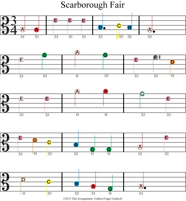 color coded viola sheet music for Scarborough Fair