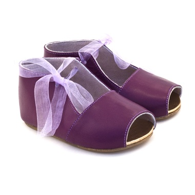 What little girl doesn't need a pair of purple peep-toe booties?