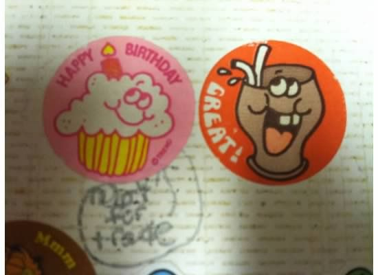 """from my sticker collection- I love that I put """"not for trade""""  later I think I shortened to """"NFT"""" :) Ha ha"""