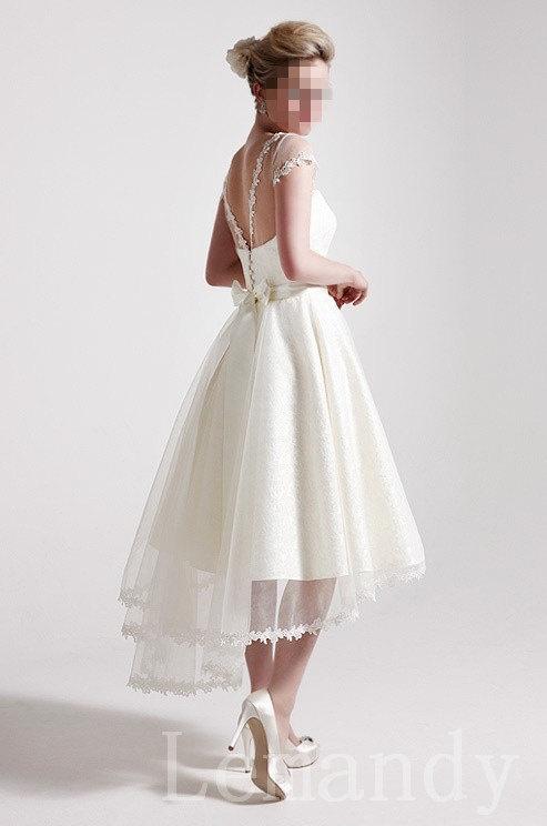 knee length princess cap sleeves satin and tulle wedding dress
