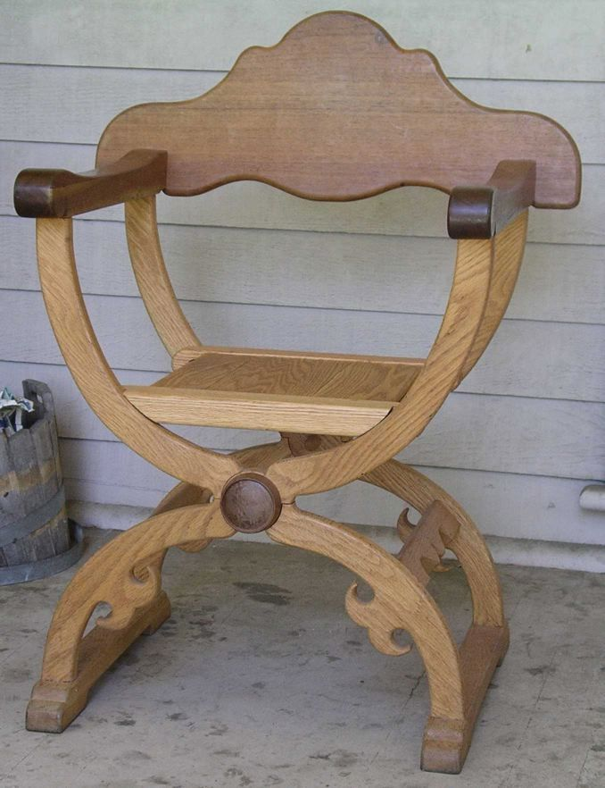 Medieval folding armchair 'how-to', from a possibly 14th c design, aka in 16th c as Dantesca style. http://www.daviddfriedman.com/Medieval/Articles/folding_armchair/folding_armchair.html