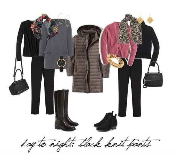 Winter Travel Wardrobe Essentials - black knit pants will go from day to evening with ease...