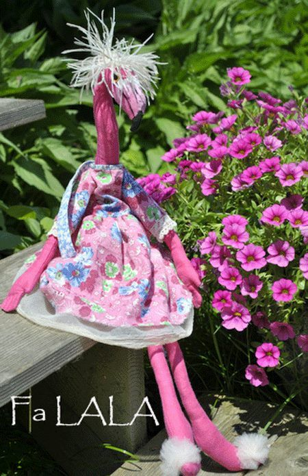 Mimi in the garden. Flamingo, Soft Sculpture, Textile Art, One of a Kind Doll/Creature