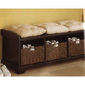 Coaster Entryway Bench With Storage Baskets And Cushions Black Home Pinterest