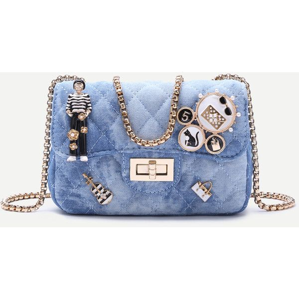 SheIn(sheinside) Blue Denim Metallic Embellished Mini Quilted Chain... (£21) ❤ liked on Polyvore featuring bags, handbags, shoulder bags, blue, mini purse, blue shoulder bag, chain shoulder bag, denim purse and quilted shoulder bag