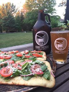July 30, 2017 – Craftheads 'Blues' Berry Blonde with Grilled Chicken Caesar Pizza. | Essex County Wineries & Breweries Oh Canada…a great place to live, sip & savour! Celebrate 150 with us all summer long & share your true patriot love to win!  #ECW150  Beer and Pizza with a summer salad twist.  Salad vegetables from Lee and Maria's Market.